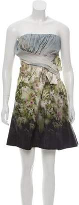 Valentino Strapless Floral-Accented Dress