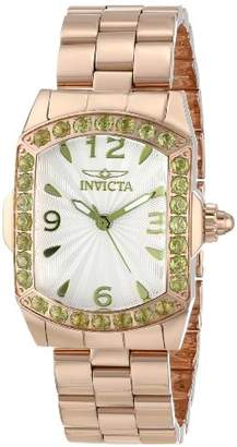 Invicta Women's 14131 Lupah Silver Textured Peridot Accented 18k Rose Gold Ion-Plated Stainless Steel Watch