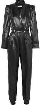 Philosophy di Lorenzo Serafini Double-breasted Faux Leather Jumpsuit - Black