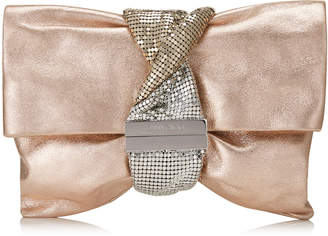 Jimmy Choo CHANDRA/M Ballet Pink Metallic Leather Clutch Bag with Chainmail Bracelet