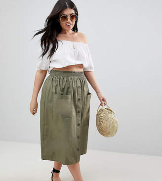 Asos Design Curve Cotton Midi Skirt With Button Front