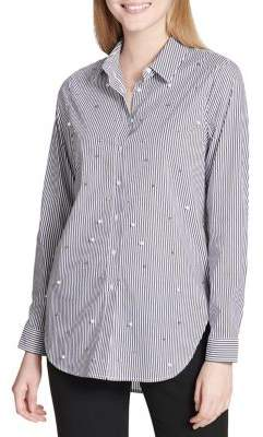 Calvin Klein Embellished Stripe Button-Down Shirt