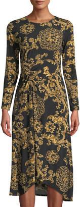 Donna Morgan Long-Sleeve Ruched Floral-Print Jersey Shift Dress