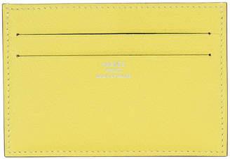 One Kings Lane Vintage HermAs Lime Yellow Goatskin Card Wallet - Vintage Lux