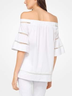 MICHAEL Michael Kors Eyelet Cotton-Poplin Off-the-Shoulder Top