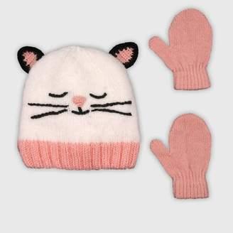 Cat & Jack Baby Girls' Hat And Glove Set - Cat & JackTM Cream 12-24M