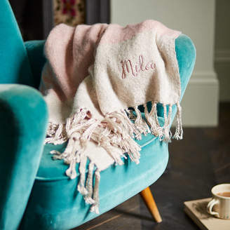 The Forest & Co Personalised Dusky Pink Mohair Throw