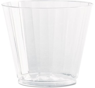 clear WNA Classic Crystal Plastic Tumblers, 9 oz., Clear, Fluted, Squat, 12/Pack