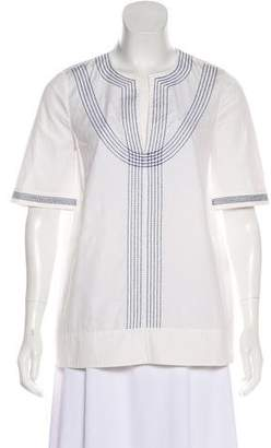 Tory Burch Embroidered Short Sleeve Blouse