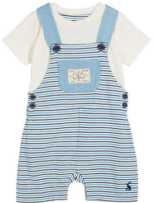 Joules Striped Overall w/ Solid Top, Size 3-24 Months