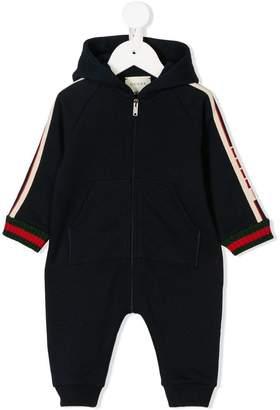 Gucci Kids logo trim hooded romper