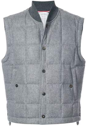 Thom Browne Downfilled Button Front Vest In Jacket Weight Cashmere