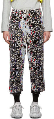Sulvam Black and Multicolor Leopard Trousers