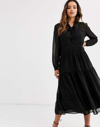 Y.A.S dobby spot midi dress with lace details