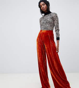 Glamorous Tall high waist wide leg pants in luxe velvet