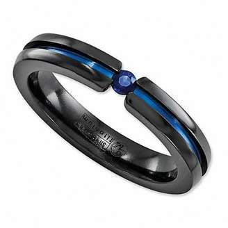 Zales Radiance by Edward Mirell 3.0mm Blue Sapphire Anodized Wedding Band in Black Titanium