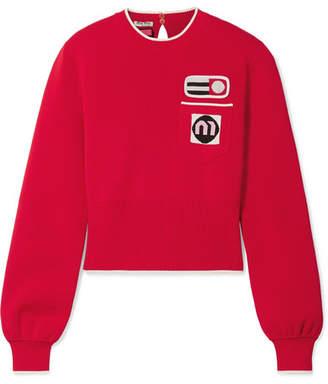 Miu Miu Appliquéd Intarsia-knit Sweater - Red