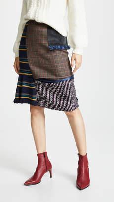 Kolor Plaid Combo Midi Skirt