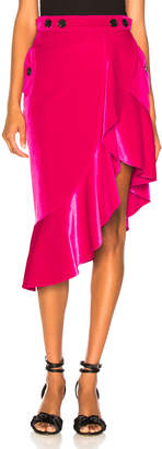 Self-Portrait Self Portrait Flounced Velvet Skirt in Fuchsia | FWRD