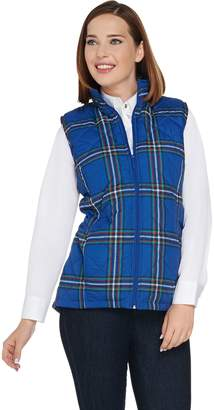 Denim & Co. Quilted Plaid Vest with Fleece Lining