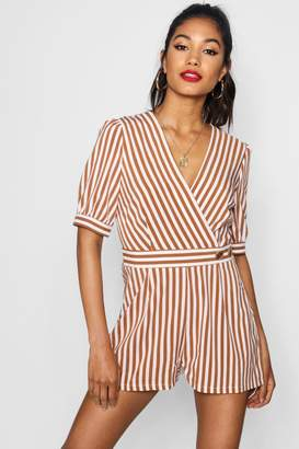 boohoo Kitty Wrap Striped Playsuit With Puff Sleeve