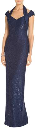 St. John Sparkle Sequin Knit V-Neck Gown