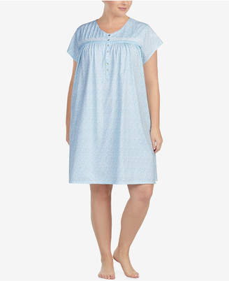 Eileen West Plus Size Cotton Button-Front Nightgown