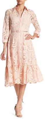 NANETTE nanette lepore 3/4 Sleeve Lace Shirt Dress