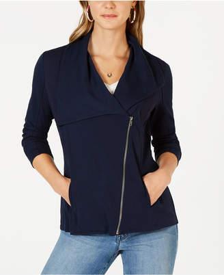 Style&Co. Style & Co Ribbed-Knit Drape-Front Jacket