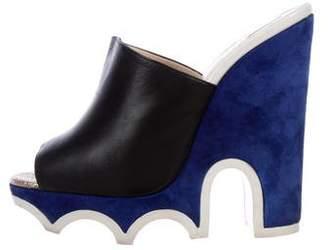 Christian Louboutin Leather Peep-Toe Mules