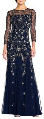 Adrianna Papell Embellished Roundneck Gown