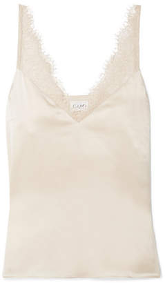 CAMI NYC The Arianna Lace-trimmed Silk-charmeuse Camisole - Beige