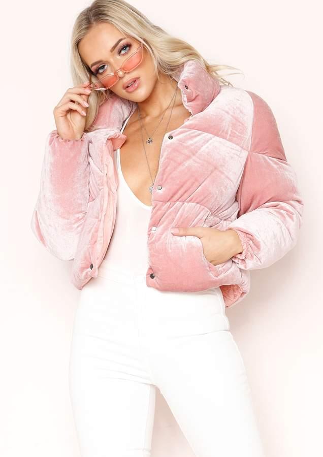 Missyempire Wendi Pink Velvet Puffa Coat