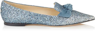 Jimmy Choo GABIE FLAT Silver Fireball Glitter Degrade Fabric and Dusk Blue Suede Pointy Toe Flats
