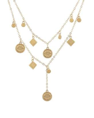 Rebecca Minkoff Etched Discs Layered Lariat Necklace, 16""