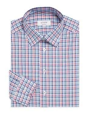 Eton Plaid Poplin Slim-Fit Cotton Dress Shirt