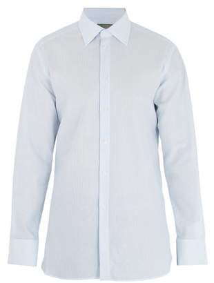 Kilgour - Single Cuff Basket Weave Cotton Shirt - Mens - Blue