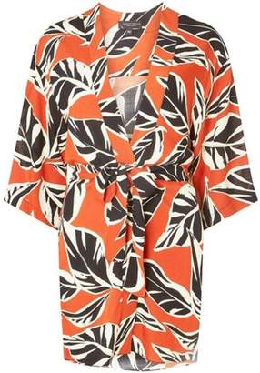 Dorothy Perkins Womens Orange Leaf Print Kimono