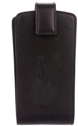 Saint Laurent Leather Logo Phone Case