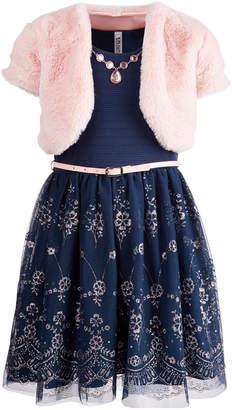 Beautees Big Girls Plus 3-Pc. Faux-Fur Shrug, Dress & Necklace Set