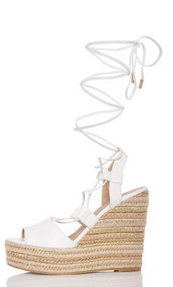 Quiz TOWIE White Lace Up Wedges