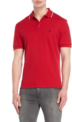 Nautica Striped Tip Collar Polo