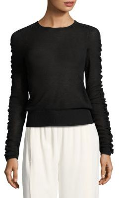 Helmut Lang Shirred Crewneck Sweater $345 thestylecure.com