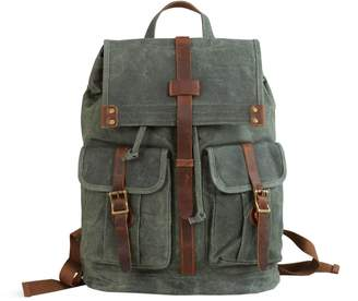 EAZO - Waxed Canvas Backpack with Two Front Pockets Teal