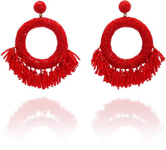 Deepa Gurnani Glass Fringe Drop Hoop Earrings