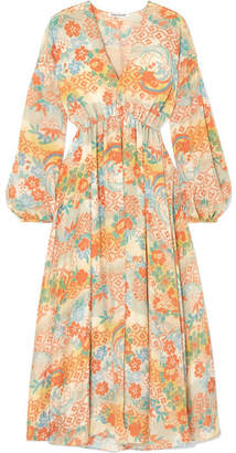 Elizabeth and James Norma Printed Silk Maxi Dress - Marigold