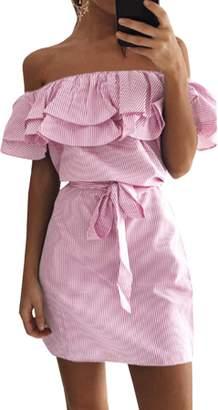 Lovaru Cold Shoulder Women Flared Striped Chiffon Dress
