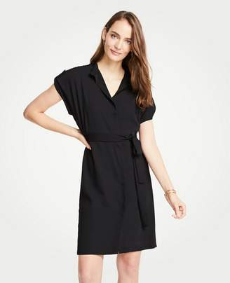 Ann Taylor Petite Short Sleeve Tie Waist Shirtdress