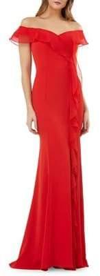 Carmen Marc Valvo Off-the-Shoulder Ruffled Mermaid Gown
