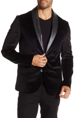 Rogue Black Pinstripe Two Button Shawl Lapel Trim Fit Blazer $450 thestylecure.com